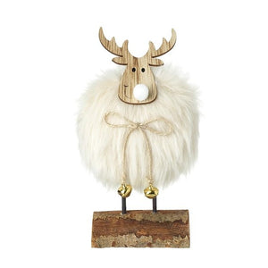 Fluffy White Deer on Stand