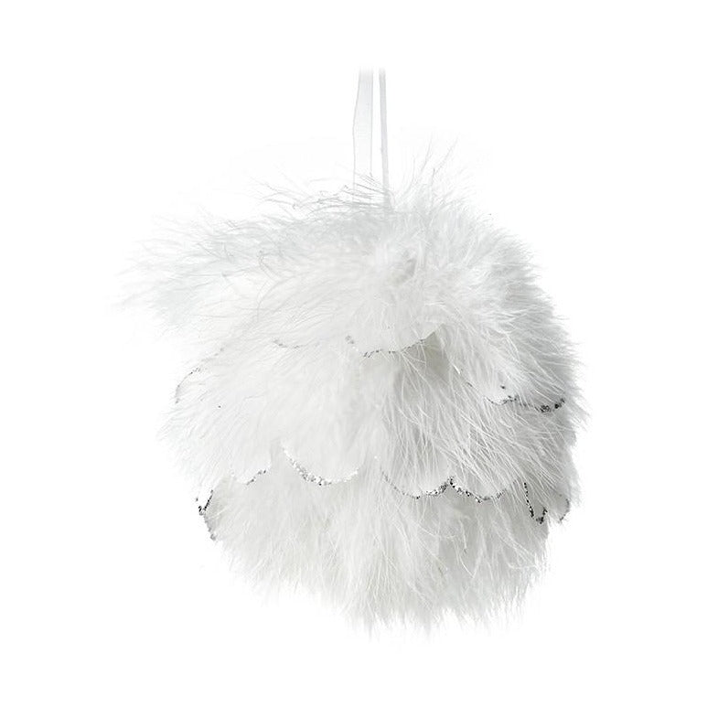 Large Fluffy White Feather Bauble