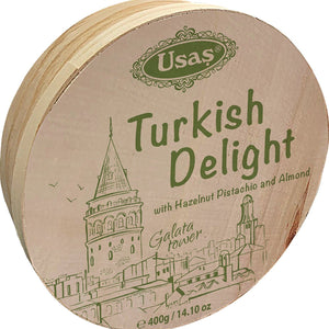 Usas Mixed Nut Turkish Delight Drum 400g