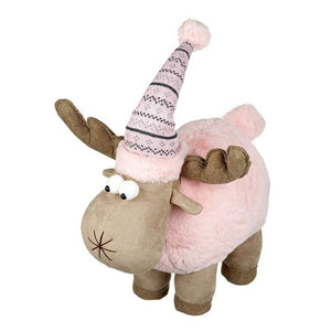 Reindeer in Pink Fluffy Hat