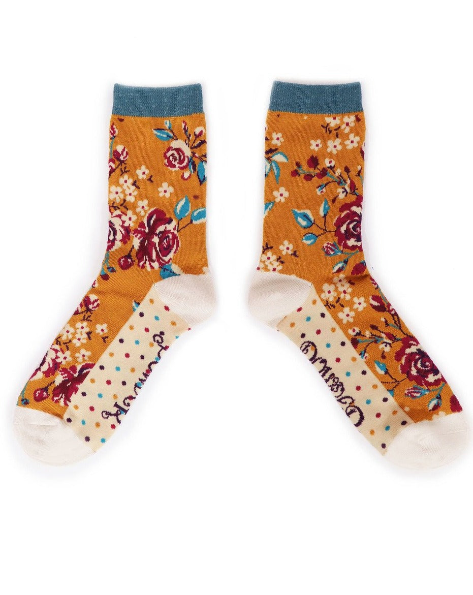 Ladies Ankle Socks  - Rosebud Mustard