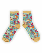 Load image into Gallery viewer, Ankle Socks Floral Turquoise