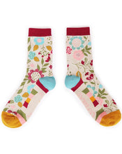 Load image into Gallery viewer, Ladies Ankle Socks - Scandi Floral Cream