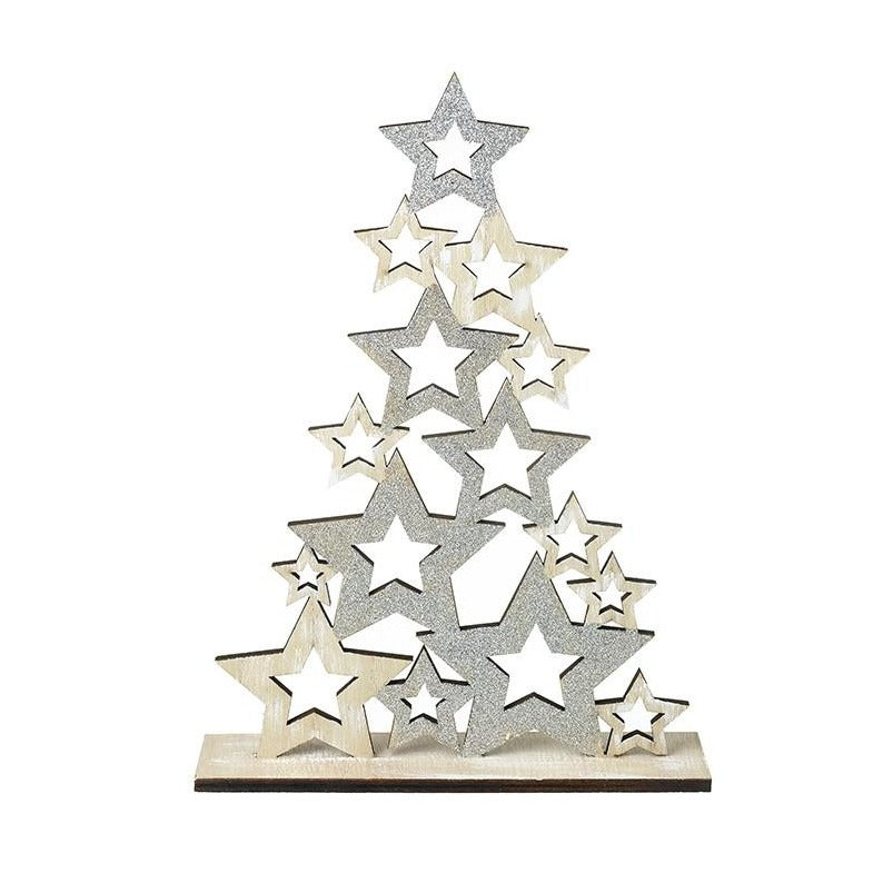 Silver & Wooden Star Tree