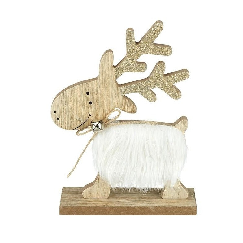 White Fur Wooden Reindeer