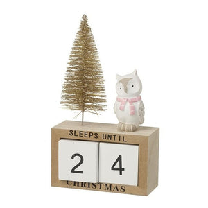 Wooden Calender with Owl Deco