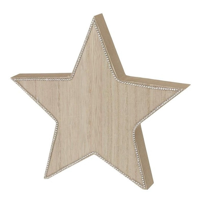 Wooden Star with Glitter Edging