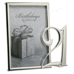 Silver-Plated 21st Photo Frame 4x6""