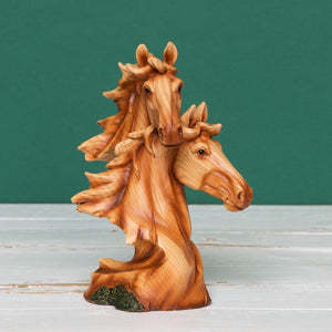 Wood Effect Resin Figurine - Two Horse Heads