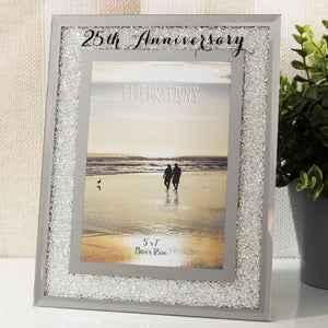 Crystal Border 25th Anniversary Frame 5x7""