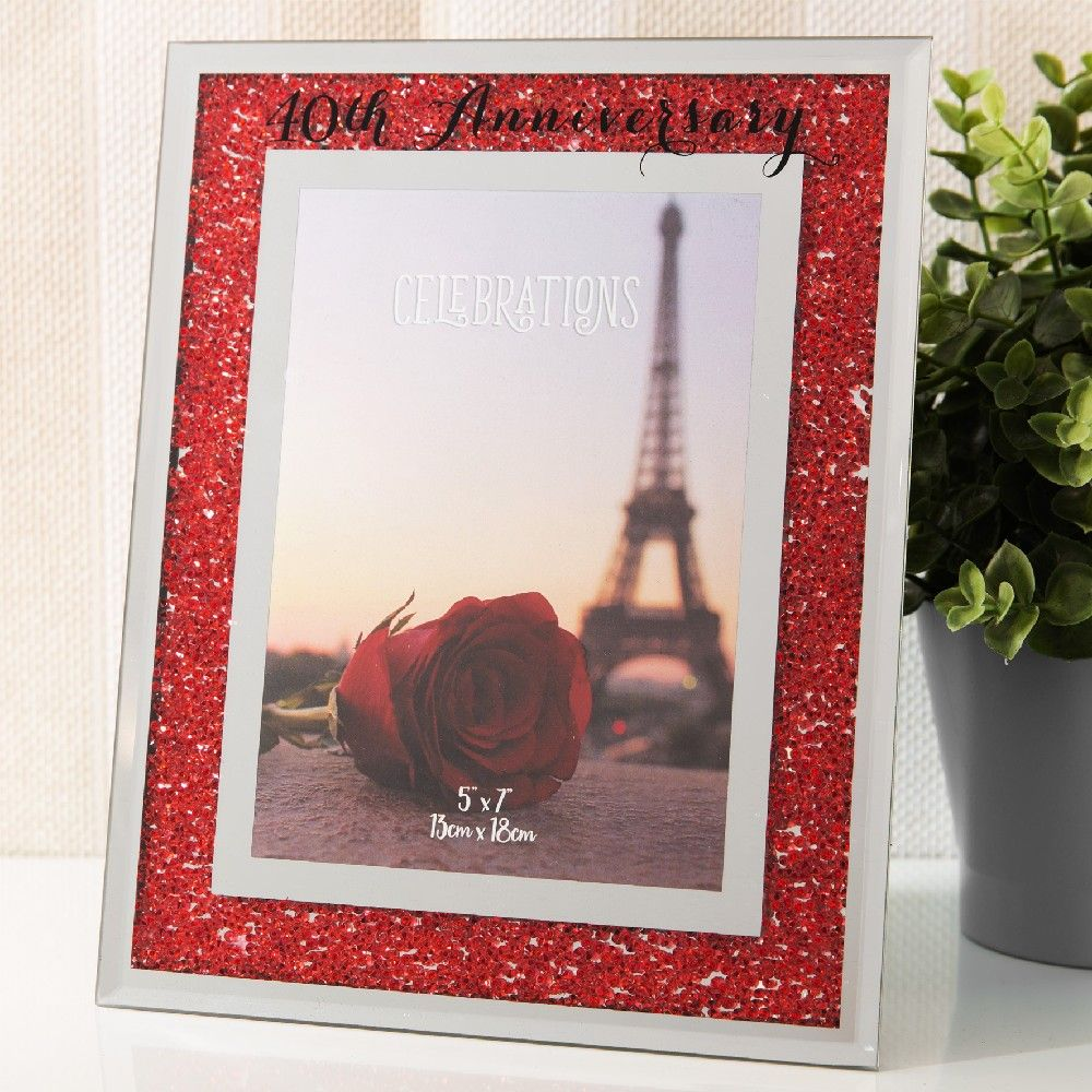 Crystal Border 40th Anniversary Frame 5x7
