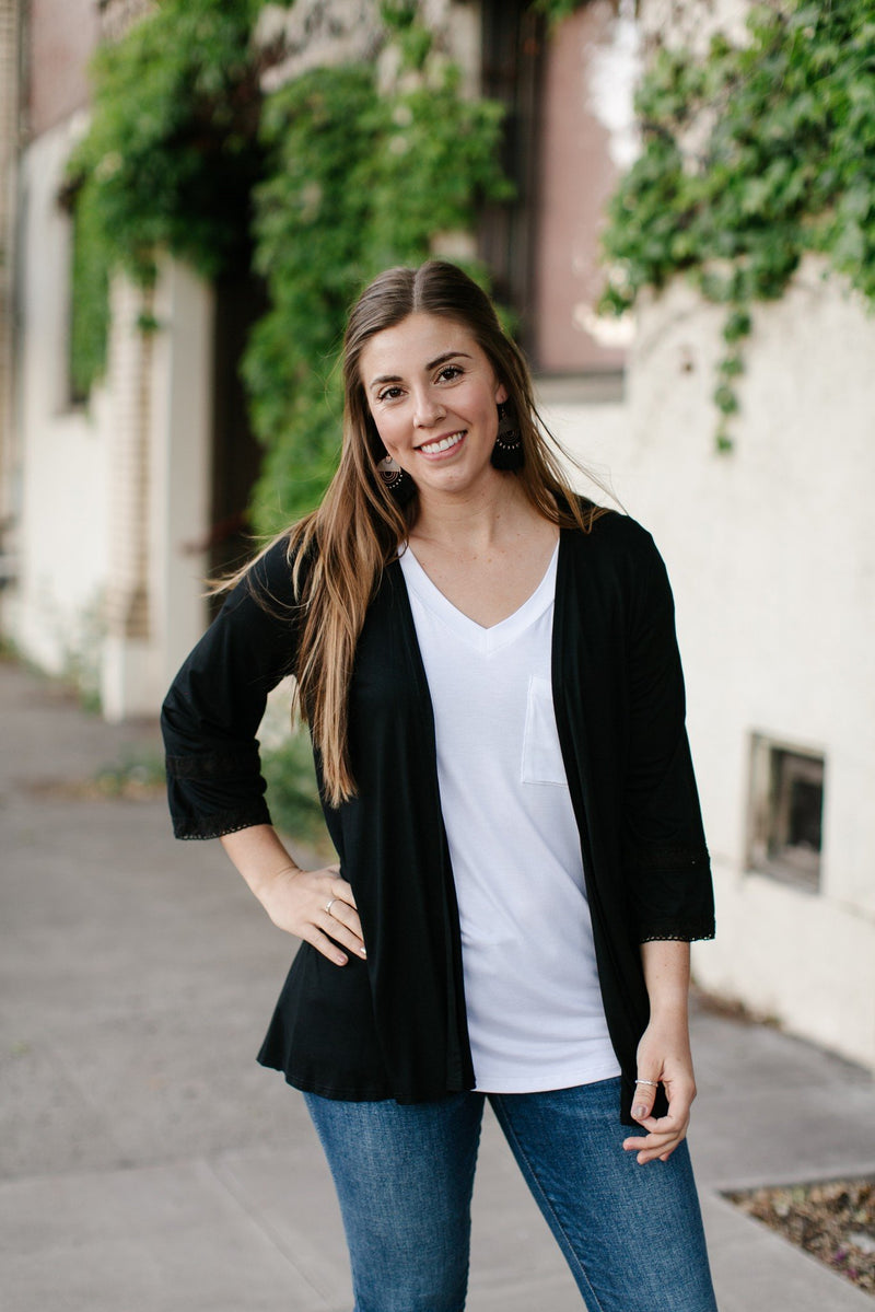 Black Mauvalous Lace Sleeve Cardigan