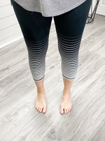 Yarn Dyed Graduated Striped High Waist Capri Leggings
