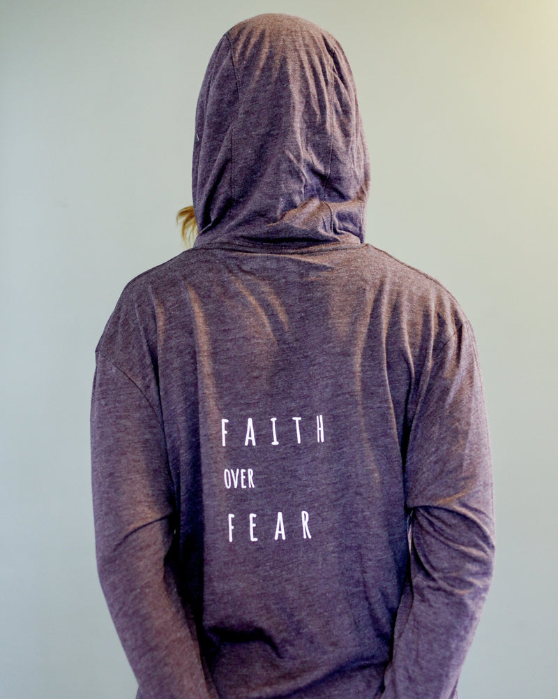 Faith Over Fear Long Sleeve Hooded Tee