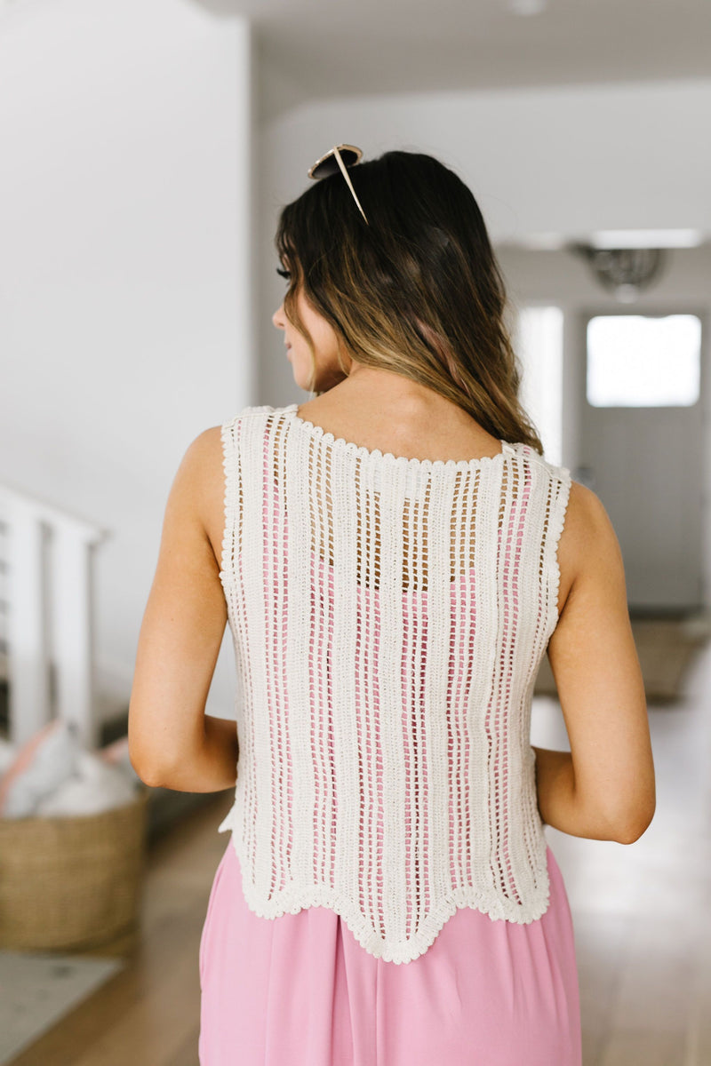 Sheer Scalloped Sweater in Ivory