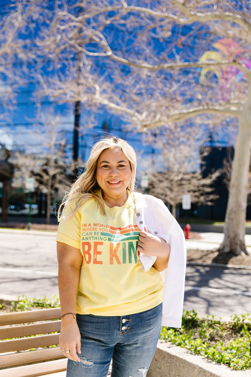 Be Kind Graphic Tee In Lemon