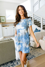 Tie Dyed Comfort T-Shirt Dress In Blue
