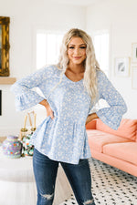 Cornflower Blue Ruffled Top