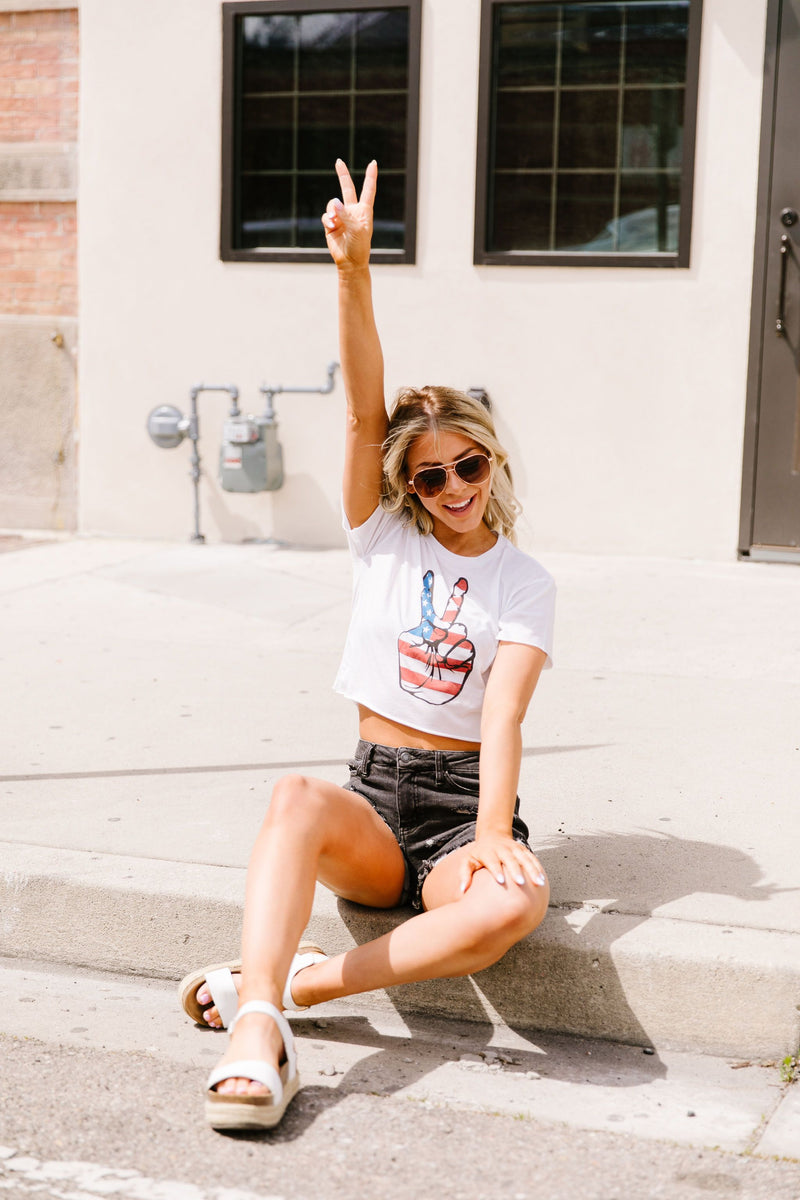 Cropped Peace In America Graphic Tee