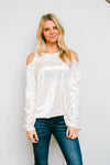 Crushing It Cold Shoulder Blouse In Pearl