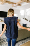 Eyelet Of The Storm Navy Blouse