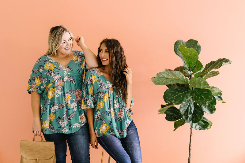 Feel The Teal Floral Blouse