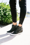 Hole In One Suede High Tops In Black