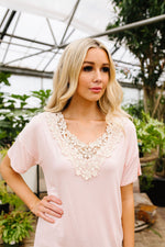 Lace Trimmed Blush V-Neck