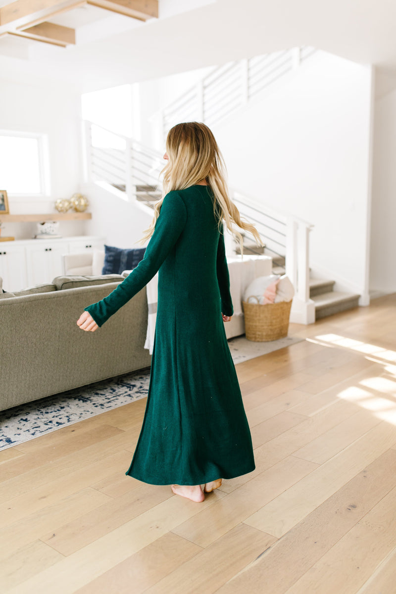 Maxi Cardi In Hunter Green
