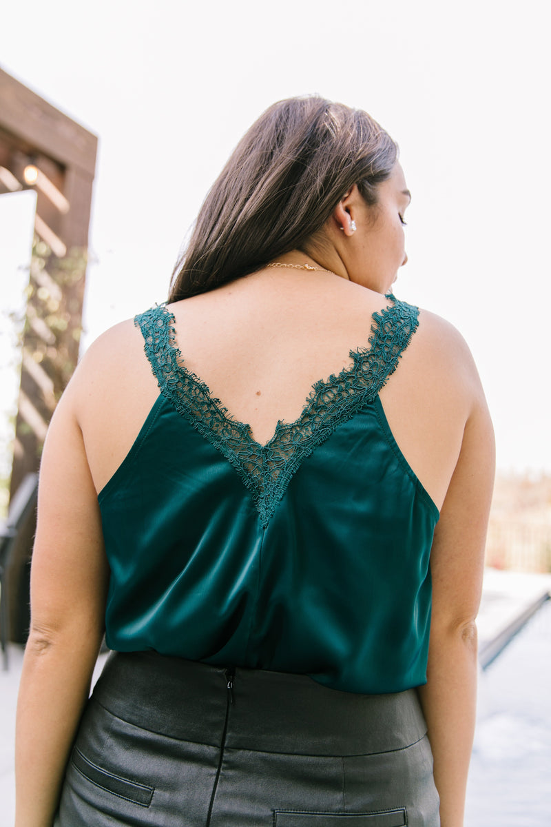 Naughty 'N' Nice Lace Trimmed Cami In Dark Teal