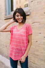 Sheer Summer Striped Top In Coral