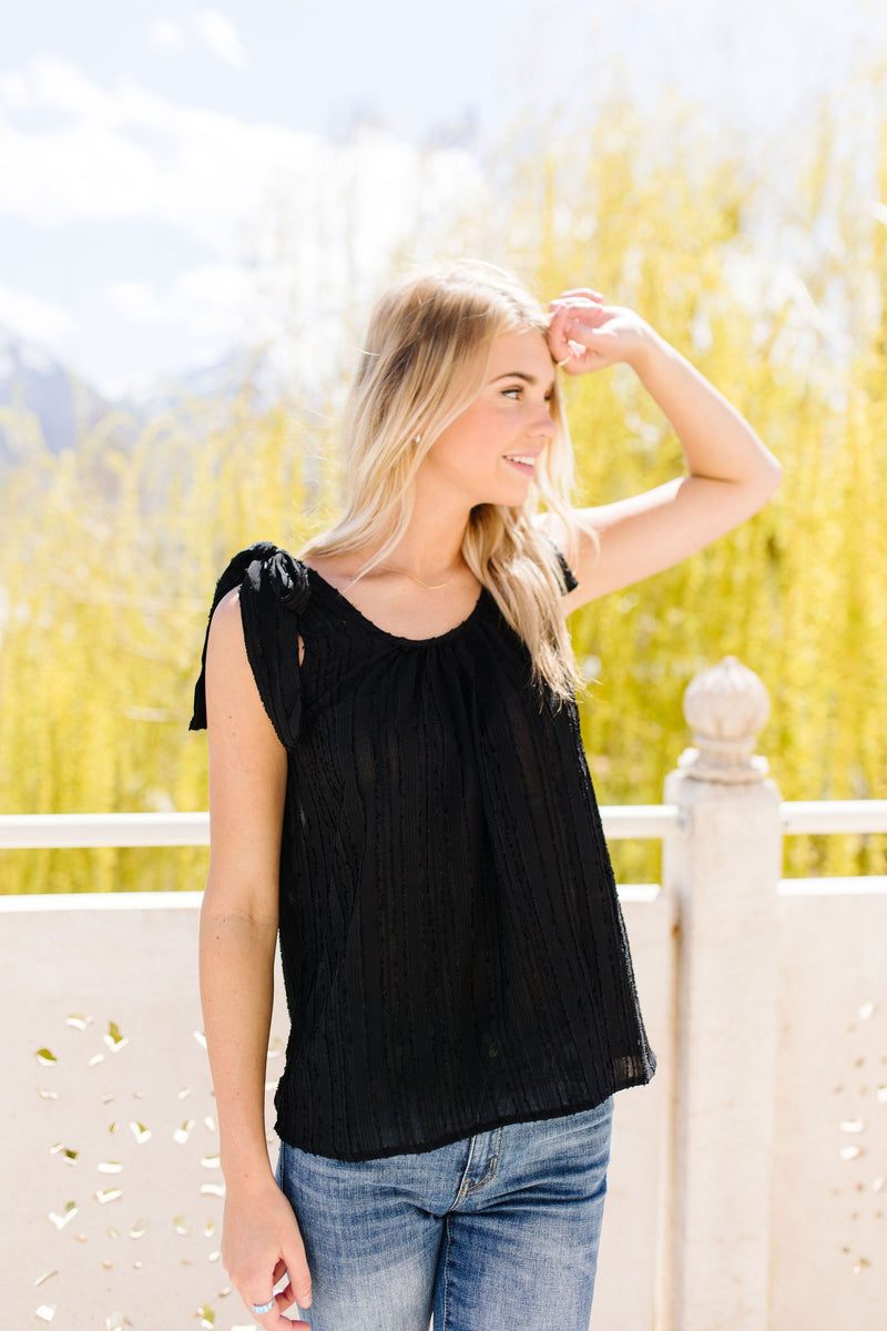 Shoulder Tie Tank In Black