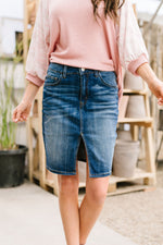 Split The Difference Denim Skirt