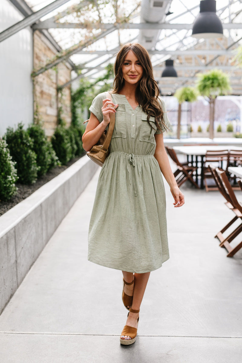 Summer Camp Sage Shirt Dress