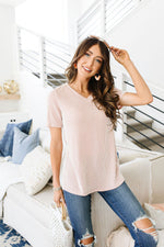 Two-Tone Ribbed V-Neck In Mauve