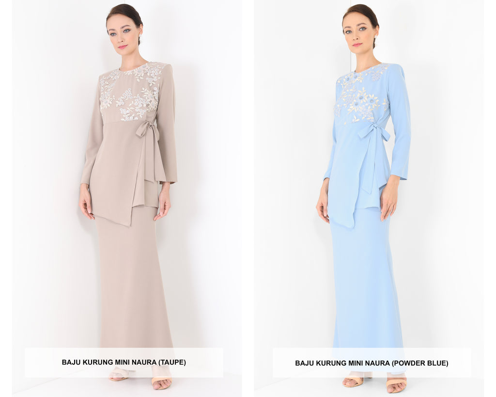 Baju Kurung Mini Naura 2020 (Taupe & Powder Blue)