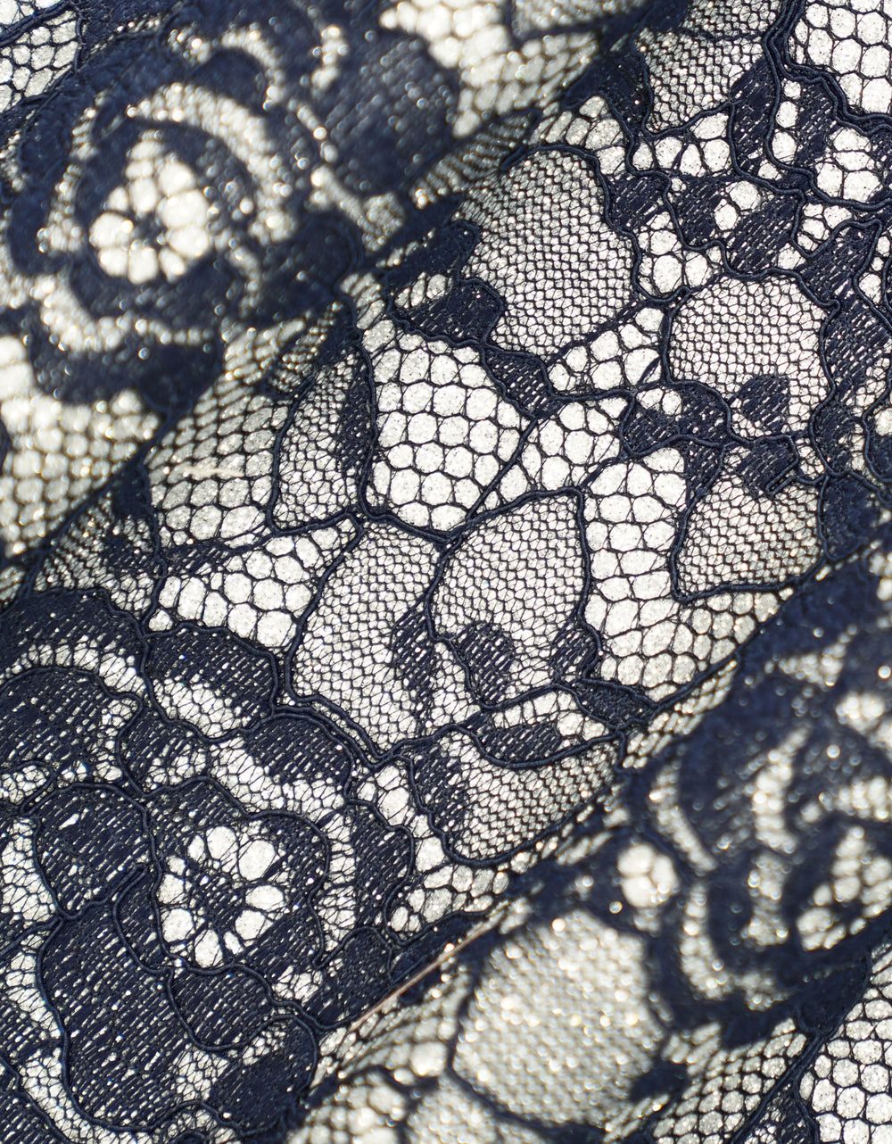 Glitter Bonding Lace Roses (Navy Blue)