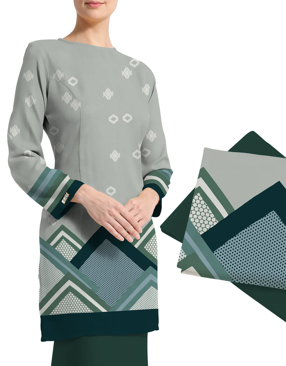 Mix and Match Palino Crepe Dalenna (Smoky Green)