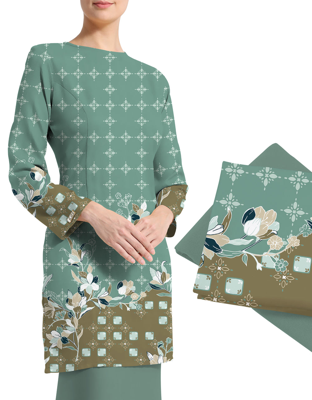 Mix and Match Napoli Crepe Aaira (Dusty Mint Green)