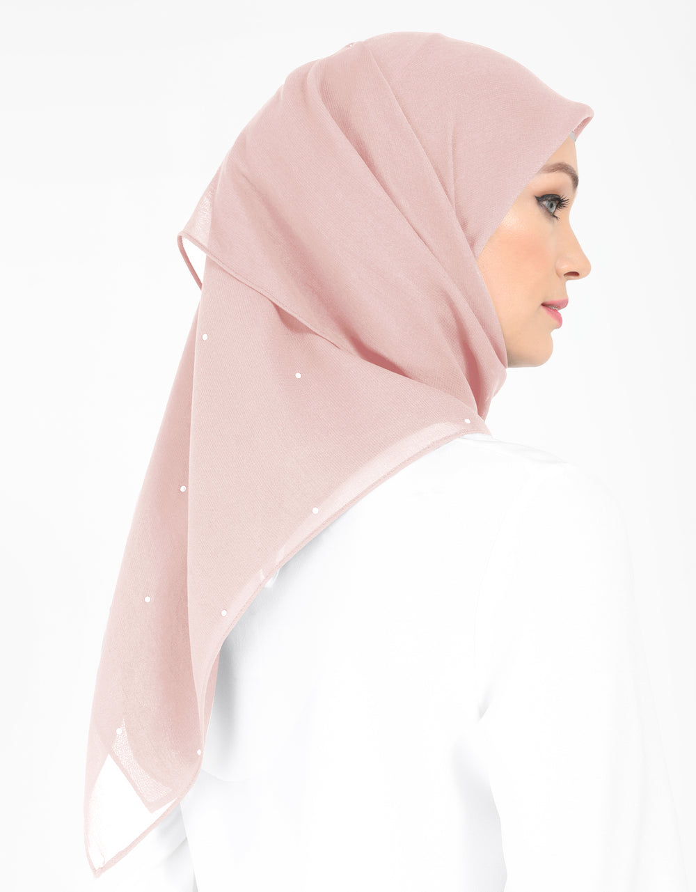 Chiffon Square Bawal With Stone Col. 13 (Dusty Pink)