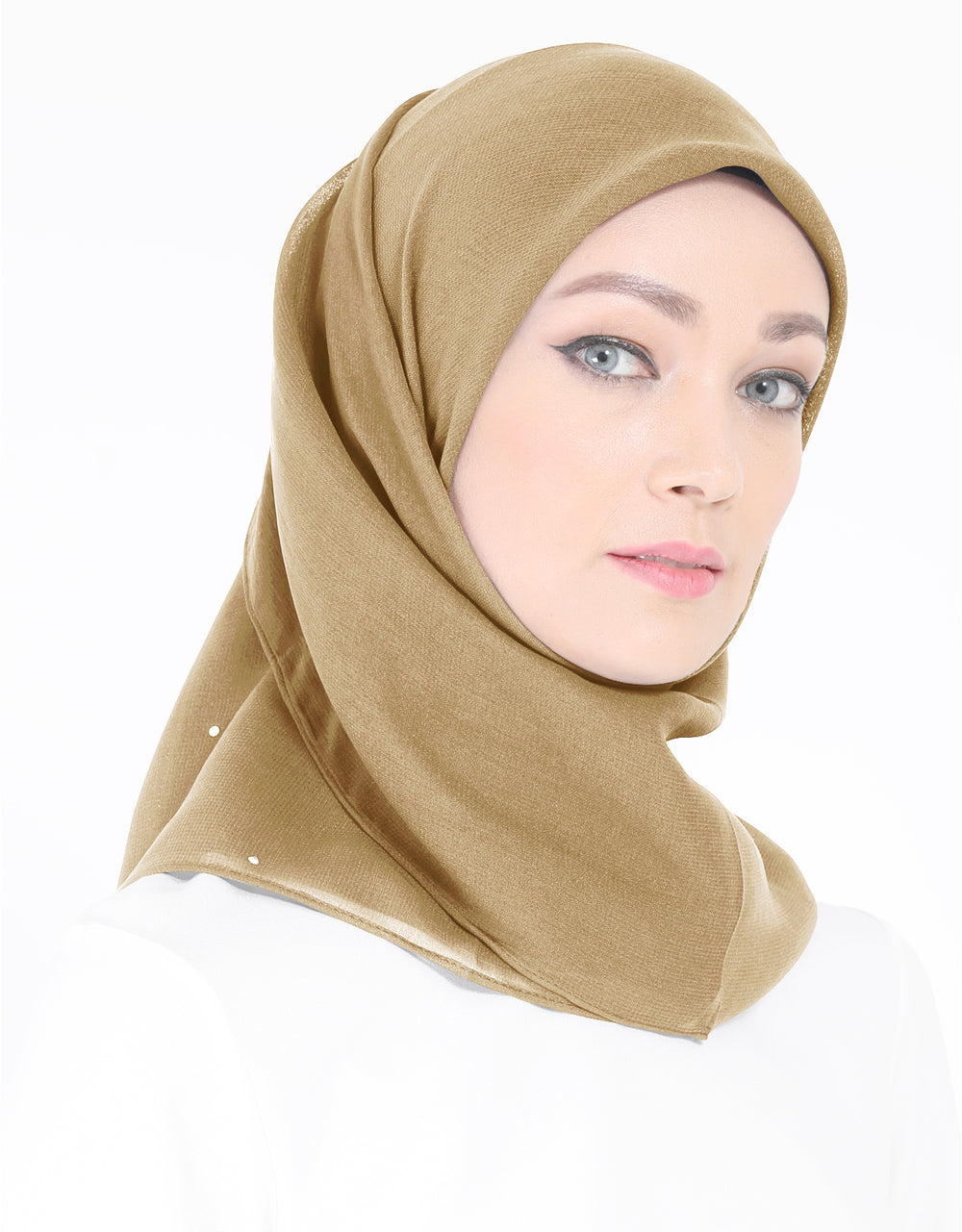 Chiffon Square Bawal With Stone Col. 20 (Larch Brown)