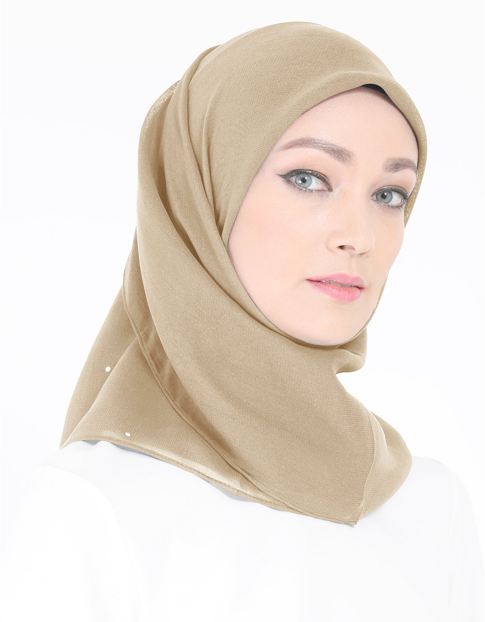 Chiffon Square Bawal With Stone Col. 52 (Champagne)