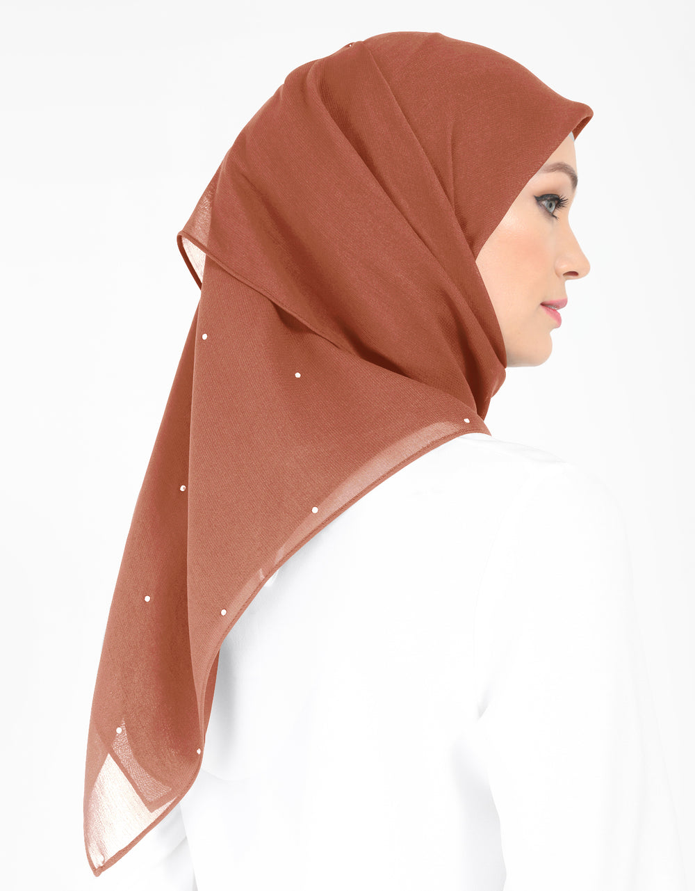 Chiffon Square Bawal With Stone Col. 57 (Dark Salmon)