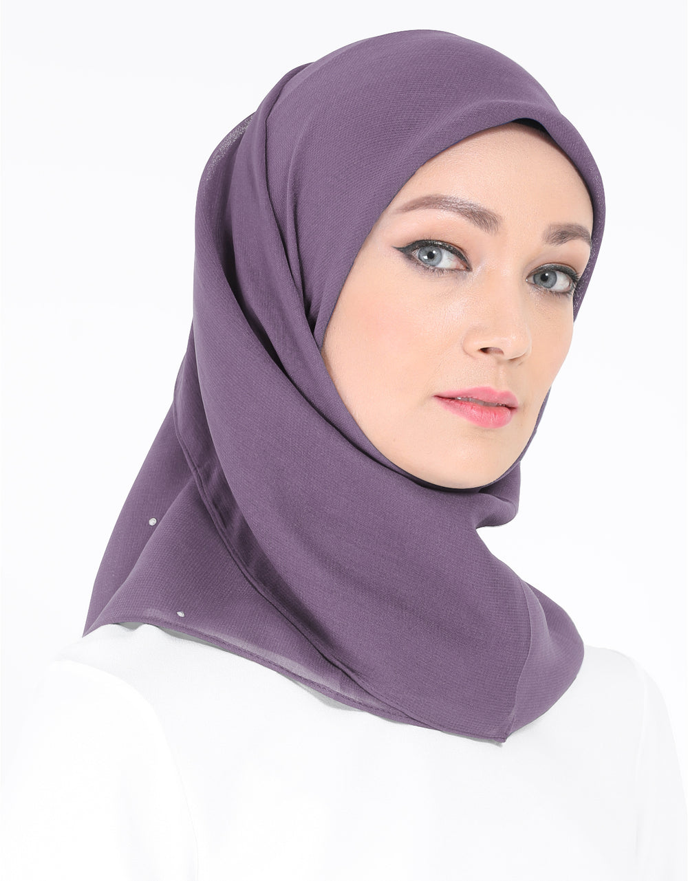Chiffon Square Bawal With Stone Col. 77 (Dusty Plum)
