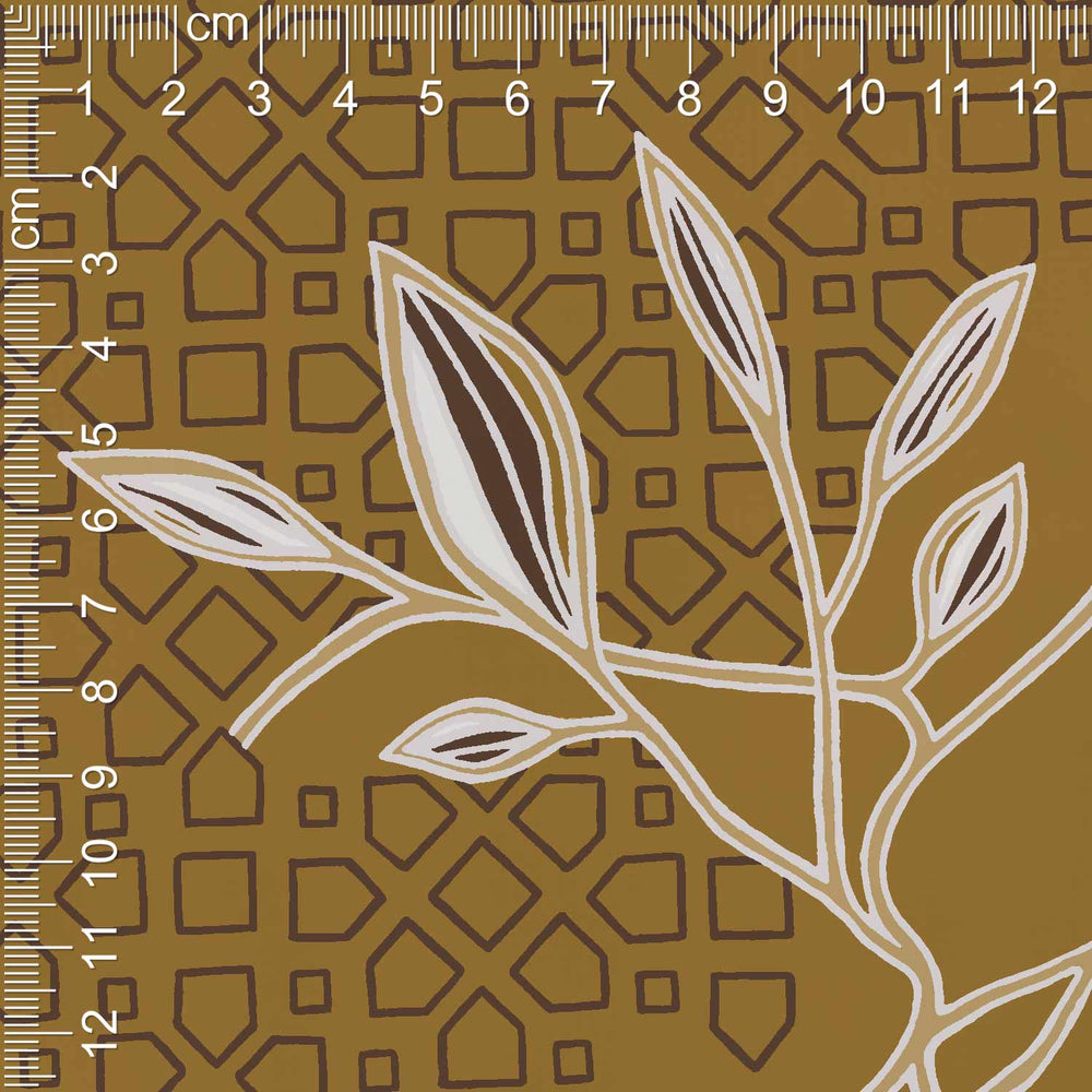 Rosetta Satin Floral (Honey Brown) - 4 Meter