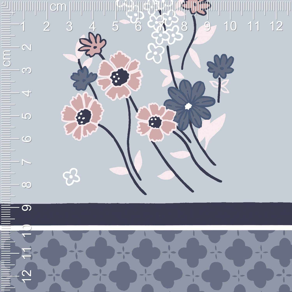 Mix and Match Como Crepe Digital Clarissa (Dusty Blue)