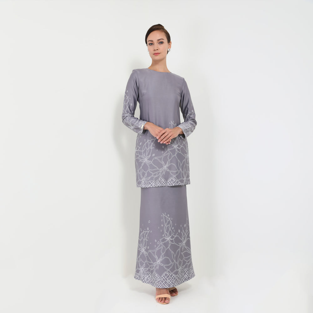Baju Kurung Moden Rosetta Light Grey
