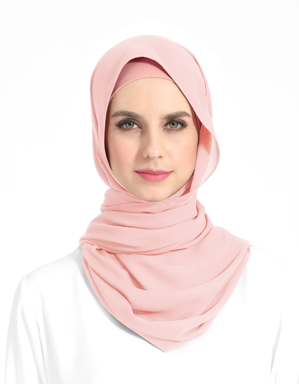 Double Georgette Chiffon Shawl Col. 1 (Baby Pink)