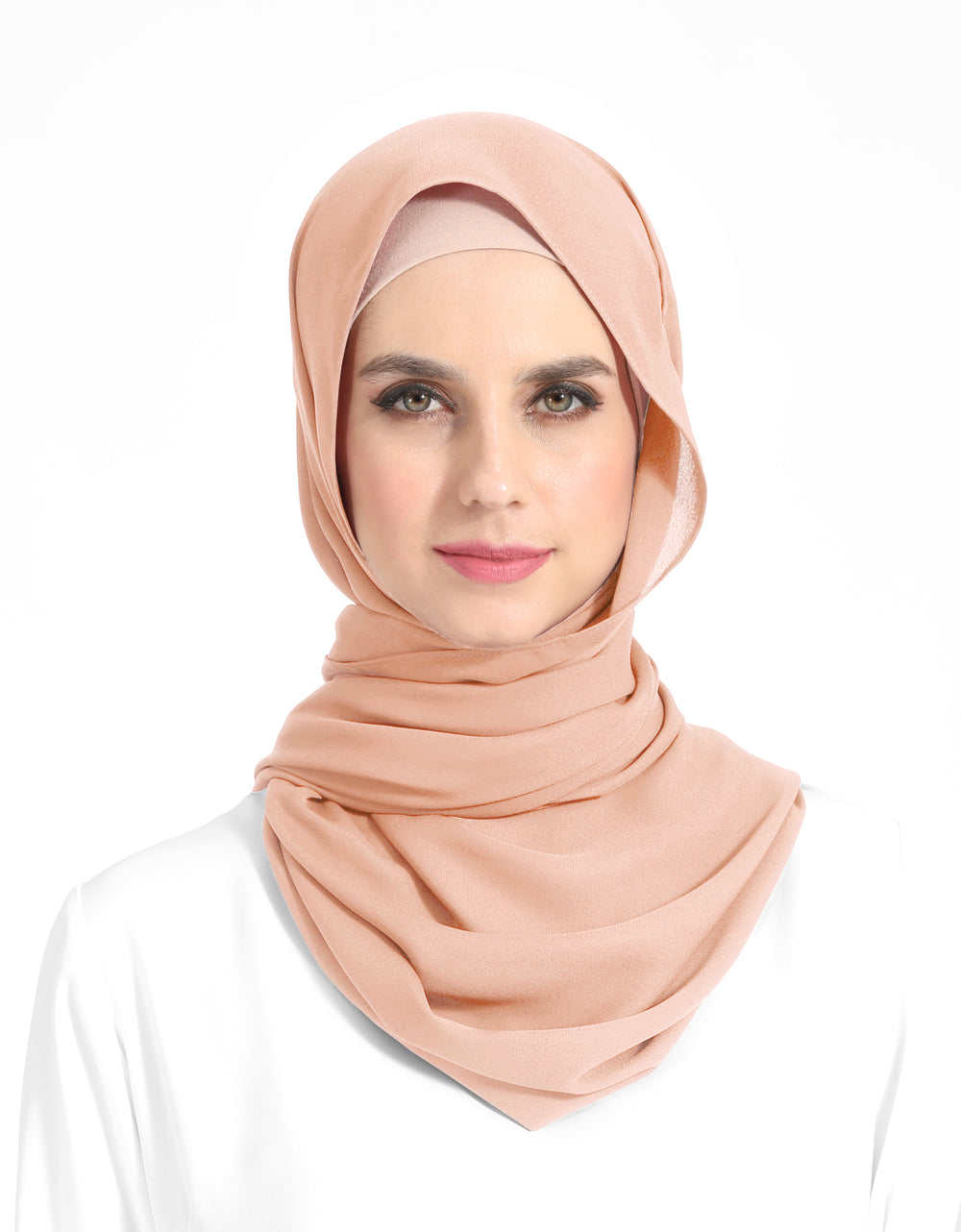 Double Georgette Chiffon Shawl Col. 29 (Dusty Peach)
