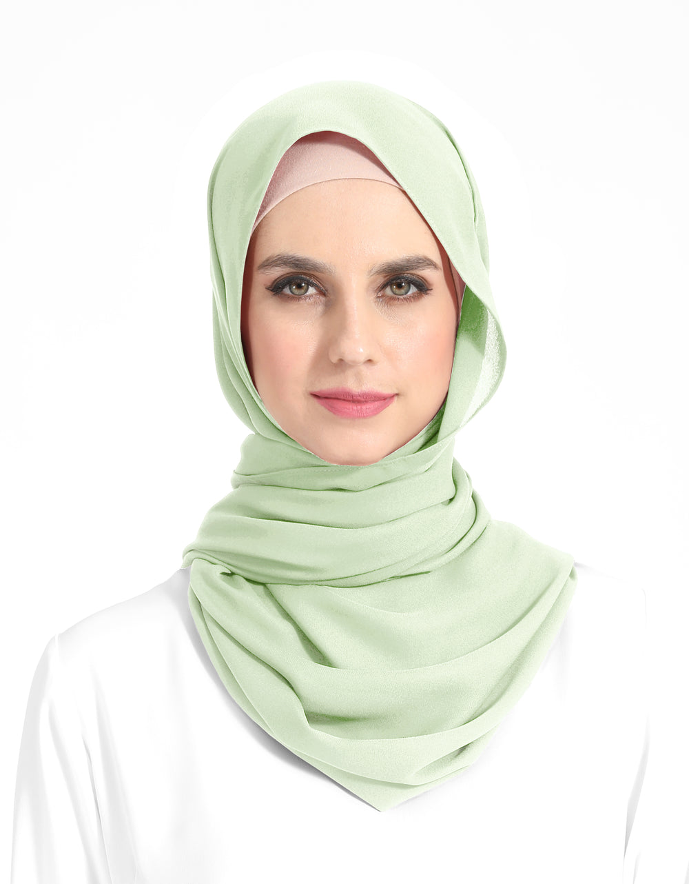 Double Georgette Chiffon Shawl Col. 52 (Honey Dew)